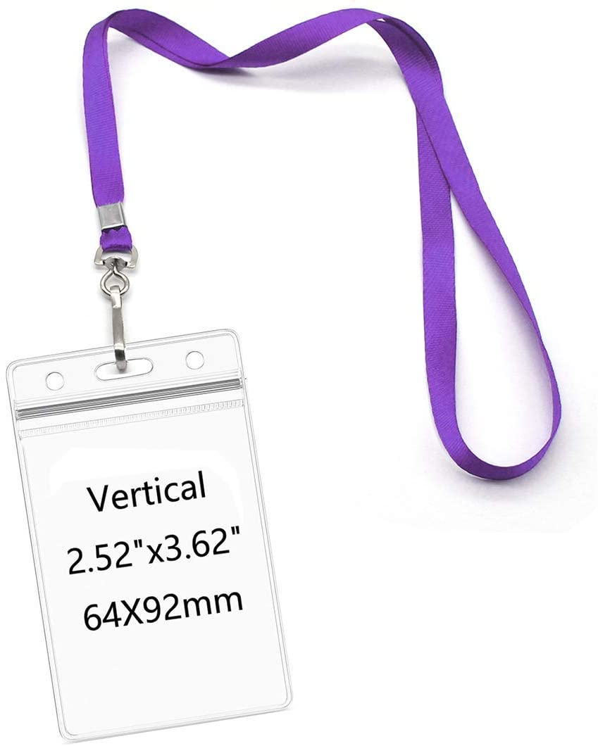 Lanyards with Id Holder Name Badges Waterproof Name tag Badge Holders with Neck Lanyard Swivel J-Hook Clip 50 Pack (Purple, Vertical)