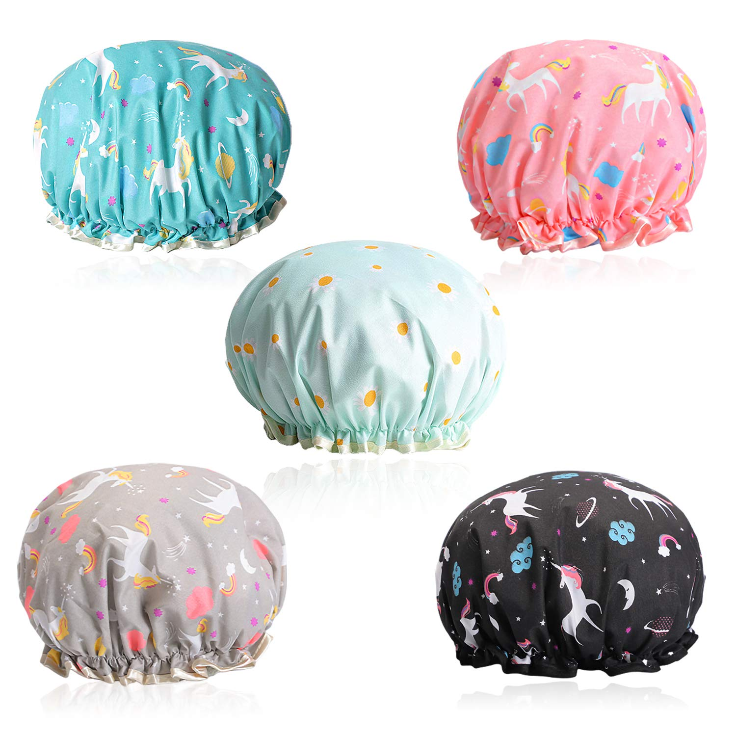 5 Pack Water-proof Shower Cap Bath Hat Bath Cap - Unicorn Reusable Double Layer Bath Hat Cover Long Thick Hair For Women Spa Hair Salon Home Hotel Travel