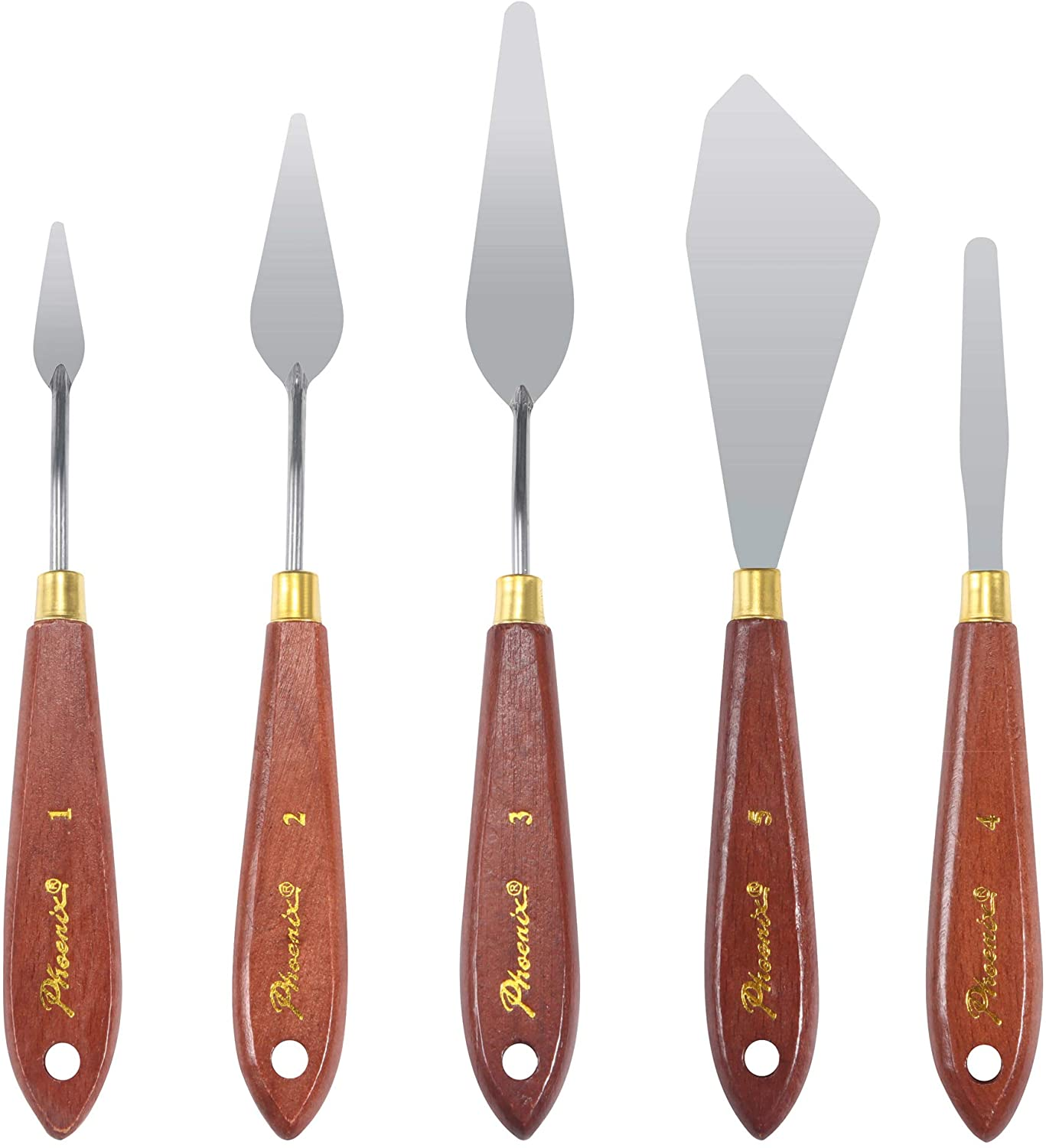 DerBlue 5pcs Stainless Steel Artists Palette Knife Set,Spatula Palette Knife Painting Mixing Scraper,Thin and Flexible Art Tools for Oil Painting, Acrylic Mixing, Etc.