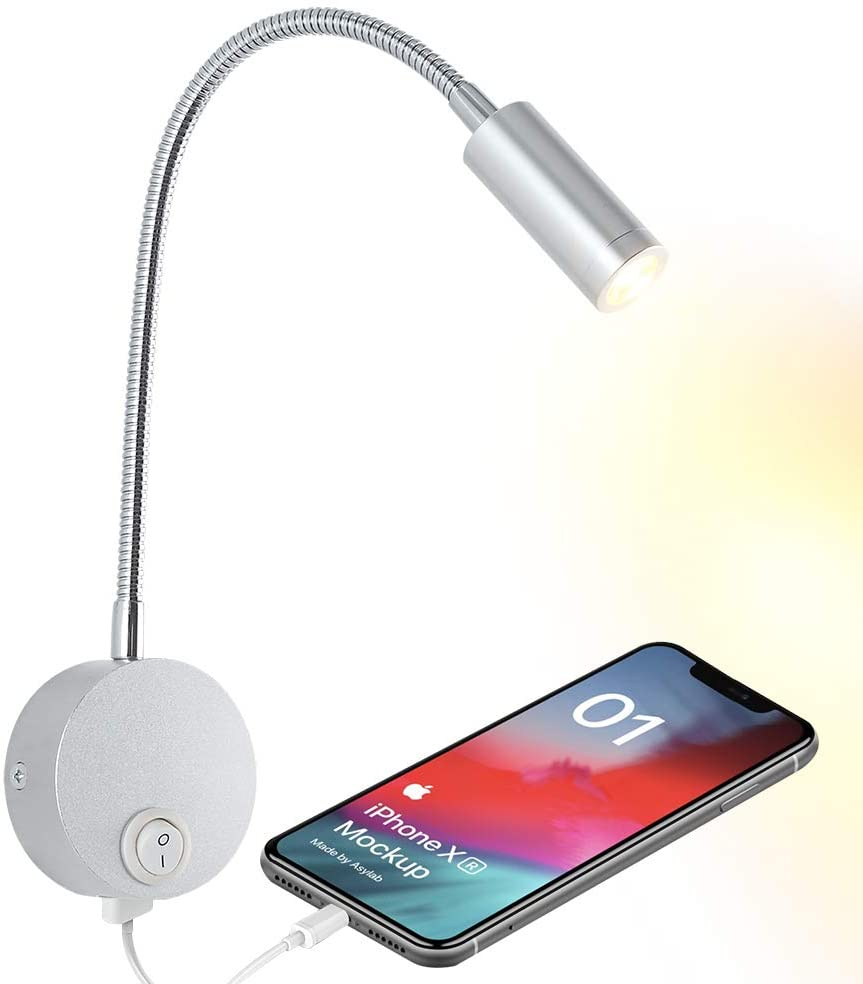 Bedside Reading Wall Light with USB Charging Port, LED Wall Mounted Lamp, Flexible Wall Sconce, Brushed Nickel Finished (3W Warm White)