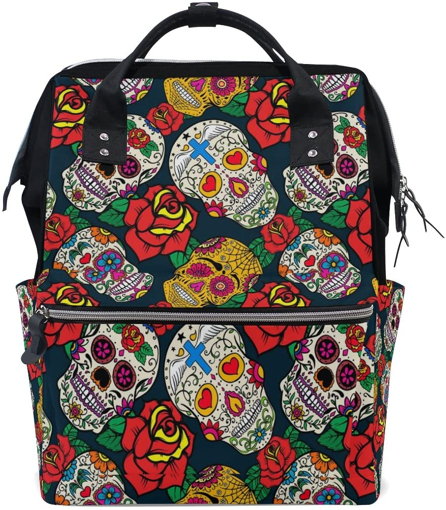 WOZO Sugar Skull Rose Multi-function Diaper Bags Backpack Travel Bag