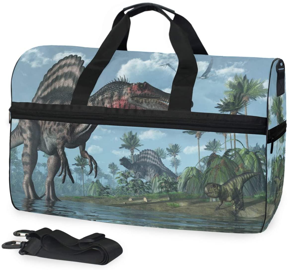 ALAZA Retro Tropical Dinosaur Sports Gym Duffel Bag Travel Luggage Handbag Shoulder Bag with Shoes Compartment for Men Women
