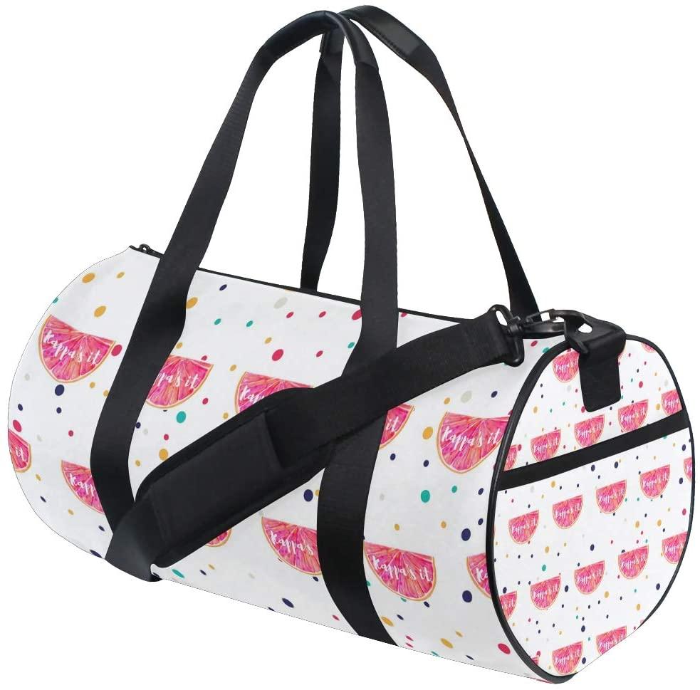 Personalized Fruit Grapefruit Gym Duffel Bag- Training Duffle Bag DKRetro Round Travel Sport Bags for Men Women
