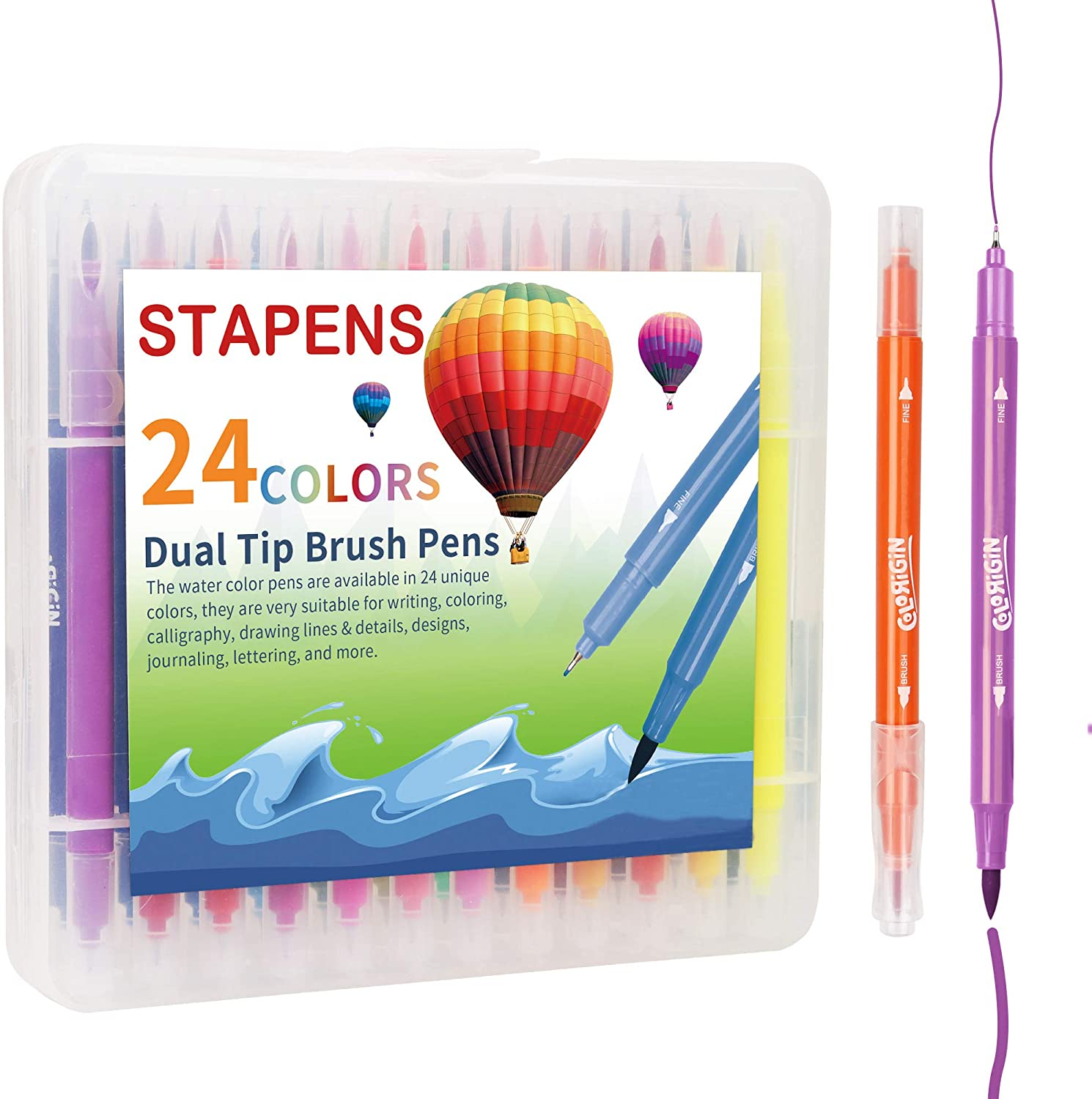 Dual Tip Markers, Double Sided Brush Pens with Fineliner Tip for Calligraphy, Writing and Drawing, 24 Assorted Colors