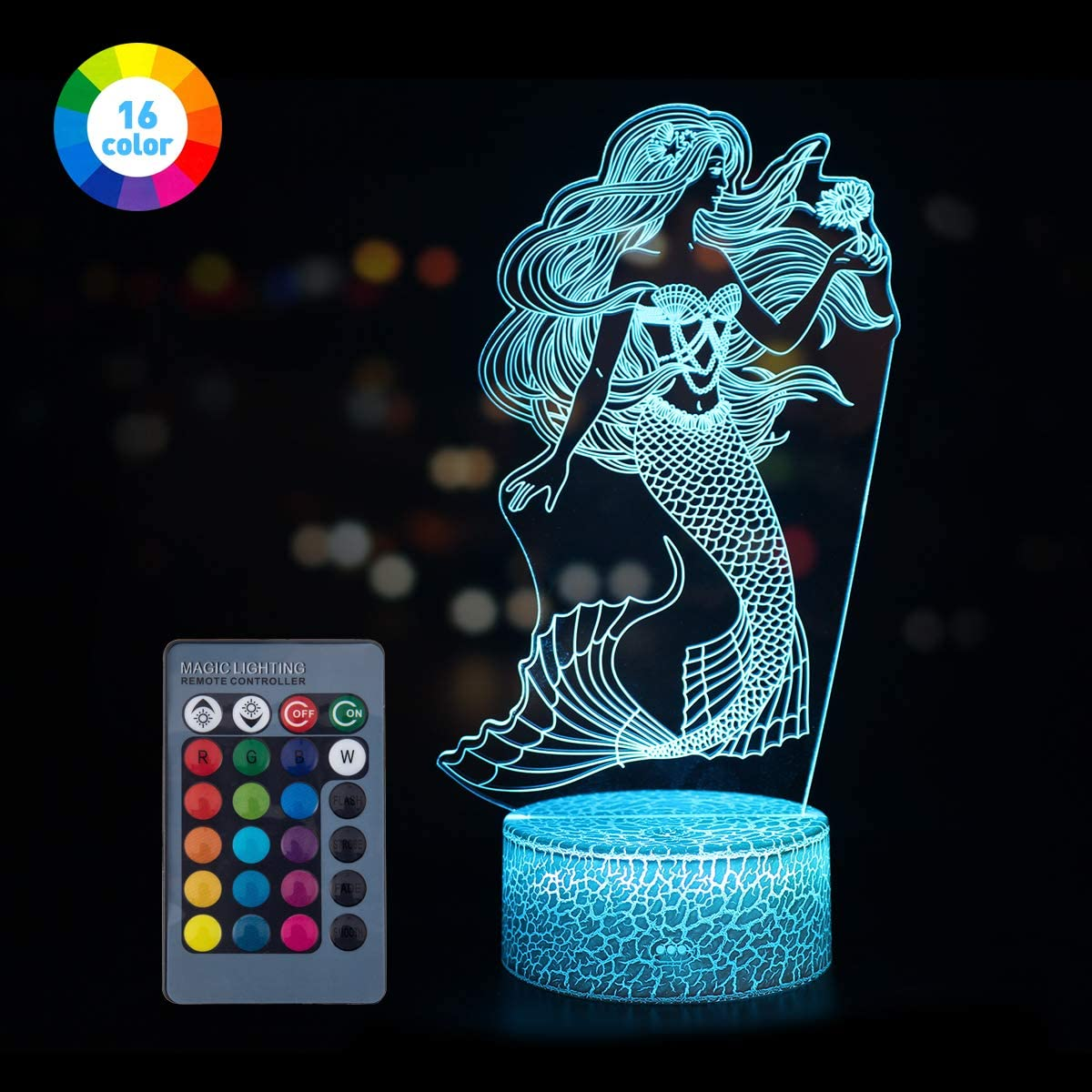 Koyya Mermaid Toys Night Light with Remote & Smart Touch 3D Lights 16 Colors Changeable Dimmable Mermaid Gifts Year Old Girl Gifts…