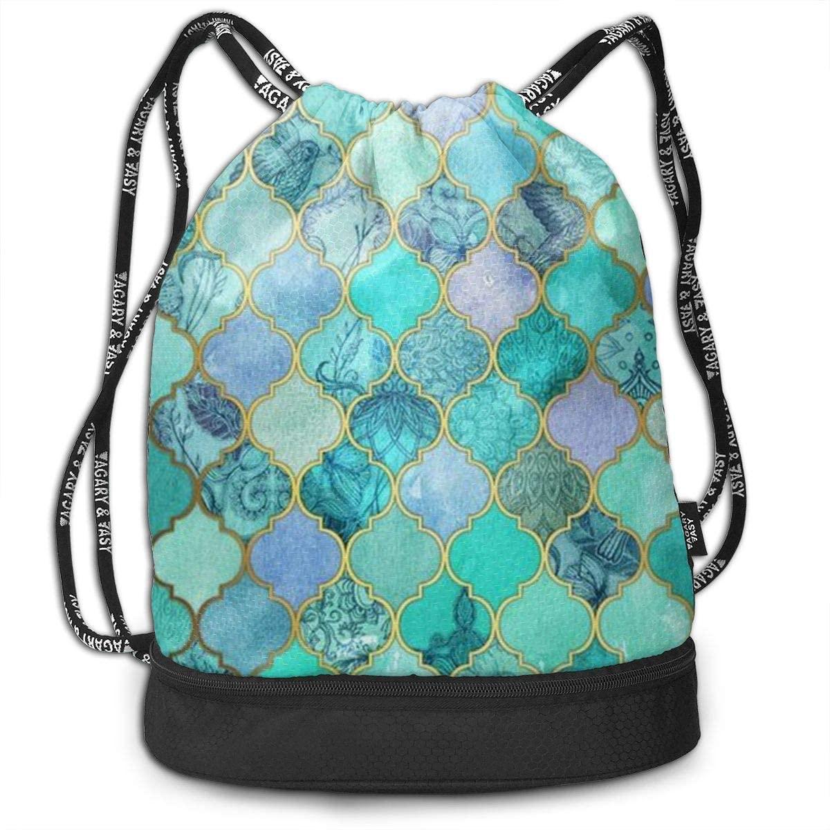 NiYoung Women & Men Drawstring Backpack Mermaid Fish Scales Mint Green Sports Gym Travel Bundle Backpack Bag