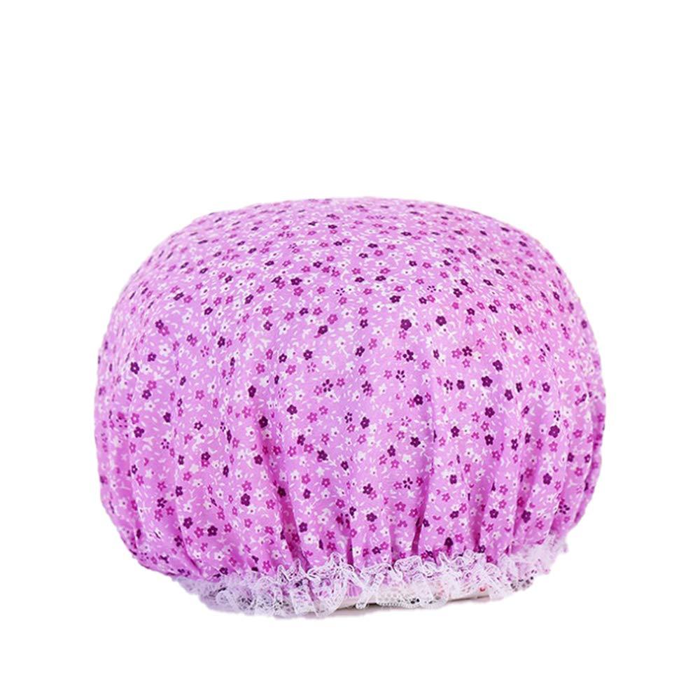 Reusable Double layer Shower Cap Waterproof Elastic Bath Cap for Women Shower Spa Salon(purple)
