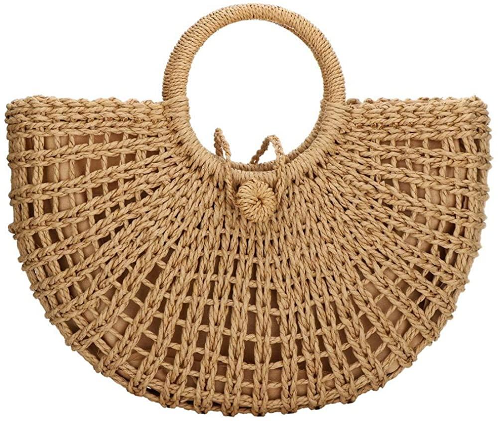 Round Straw Bag Rattan Crossbody Bag Handwoven Natural Summer Beach Shoulder Bag for Women