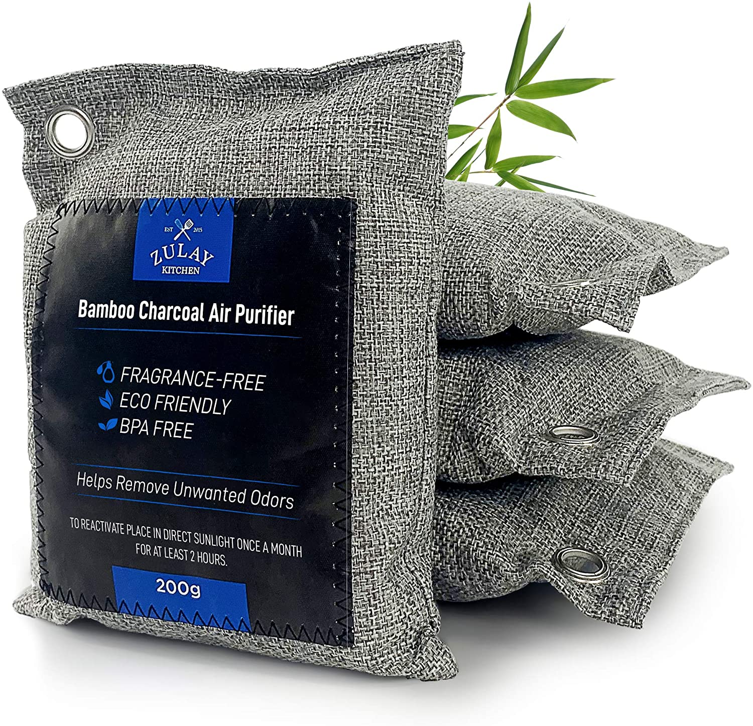 Zulay 4 Pack 100% Bamboo Charcoal Air Purifying Bags - Activated Charcoal Odor Absorber - Charcoal Bags 200g Air Fresheners & Odor Handler for Unpleasant Smells