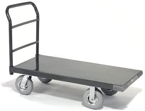 Platform Truck w/Steel Deck, 8 Pneumatic Casters, 48 x 30, 1200 Lb. Capacity