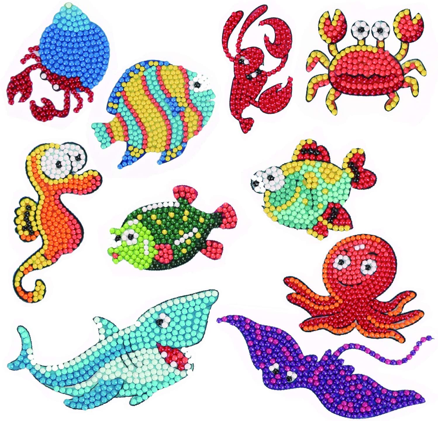 Easy Small Diamond Painting Stickers Kits for Kids and Beginners Skill Level Diamond Embroidery - Round Drill Painting Sticker Sea World