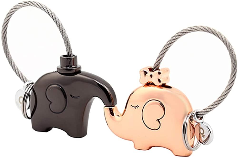 MILESI Original Cute Elephant Couples Keychains Personalized Keyring Birthday Gift