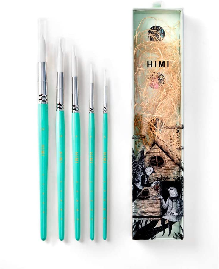HIMI—Gouache/Watercolor Paint Brushes Set 5 Pcs for Acrylic Oil Watercolor Face & Body Gouache Painting Nice Gift Art hobbyist, Kids & Adults (Green, Watercolor Brush)