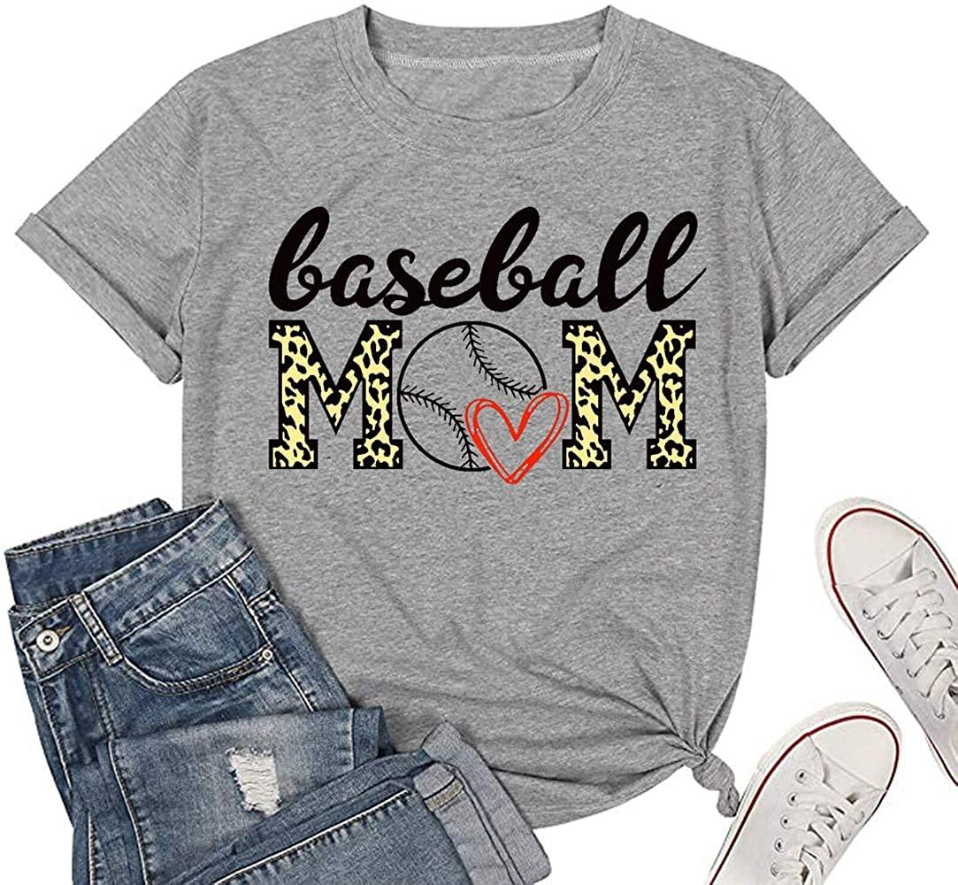 PEYUSHY Baseball Mom Shirts Women Mom Life Shirt Beach Softball Mom Short Sleeve Top Blouse