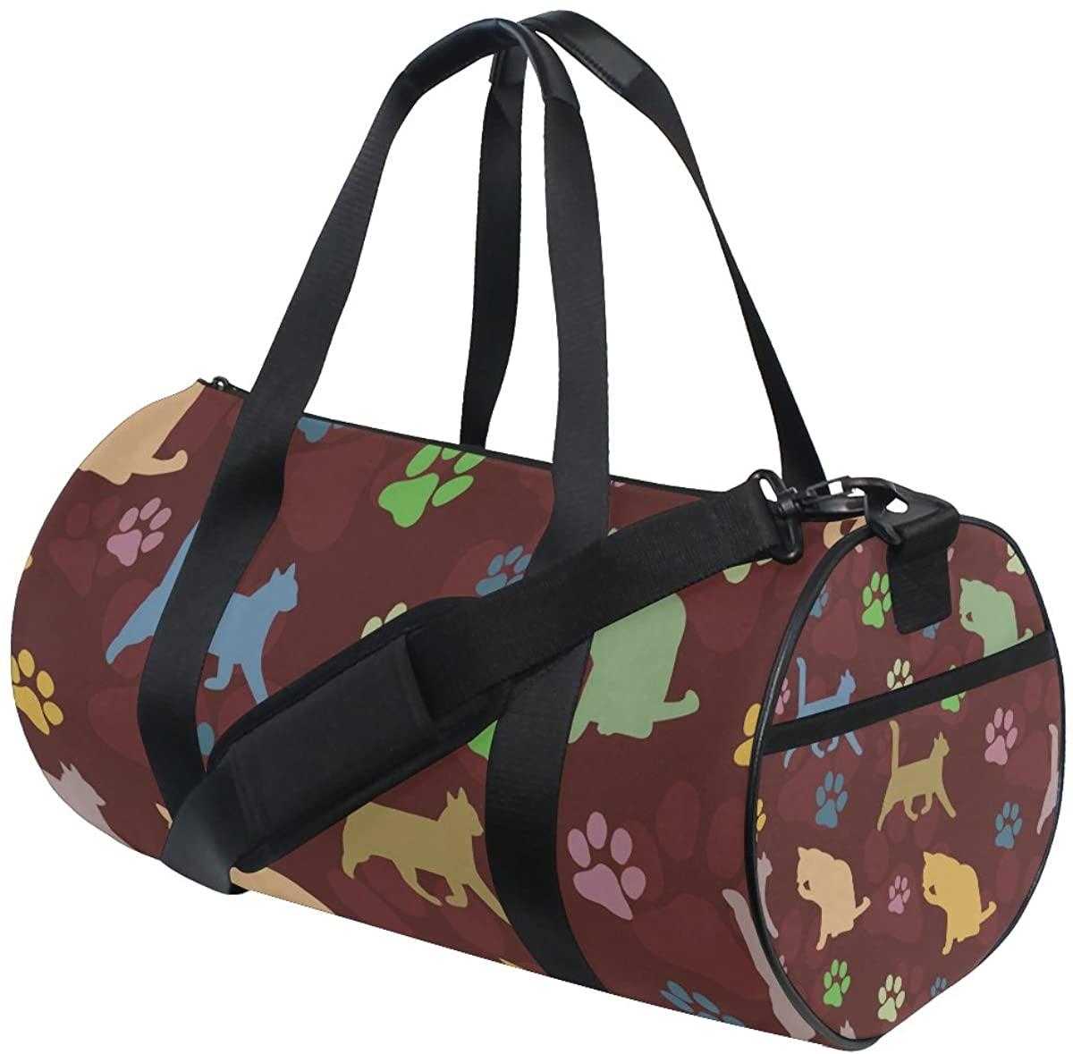 Duffel Cat Footprints Fitness Gym Bags Canvas Sport Shoulder Bag for Men Women