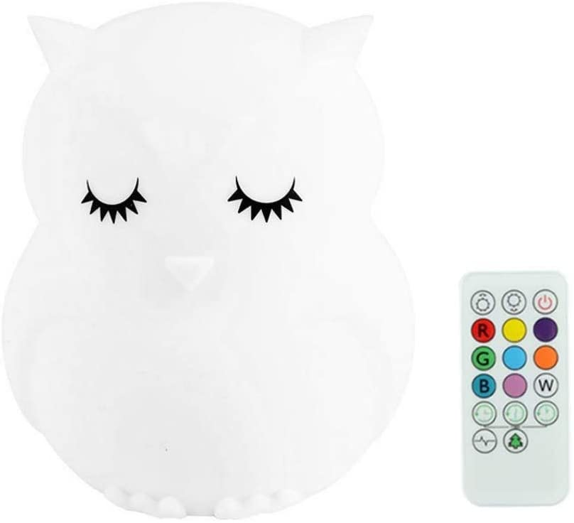FRIDG Animal Silicone Color Changing Pat Night Light Remote Control USB Charging LED Bedside Lamp Owl