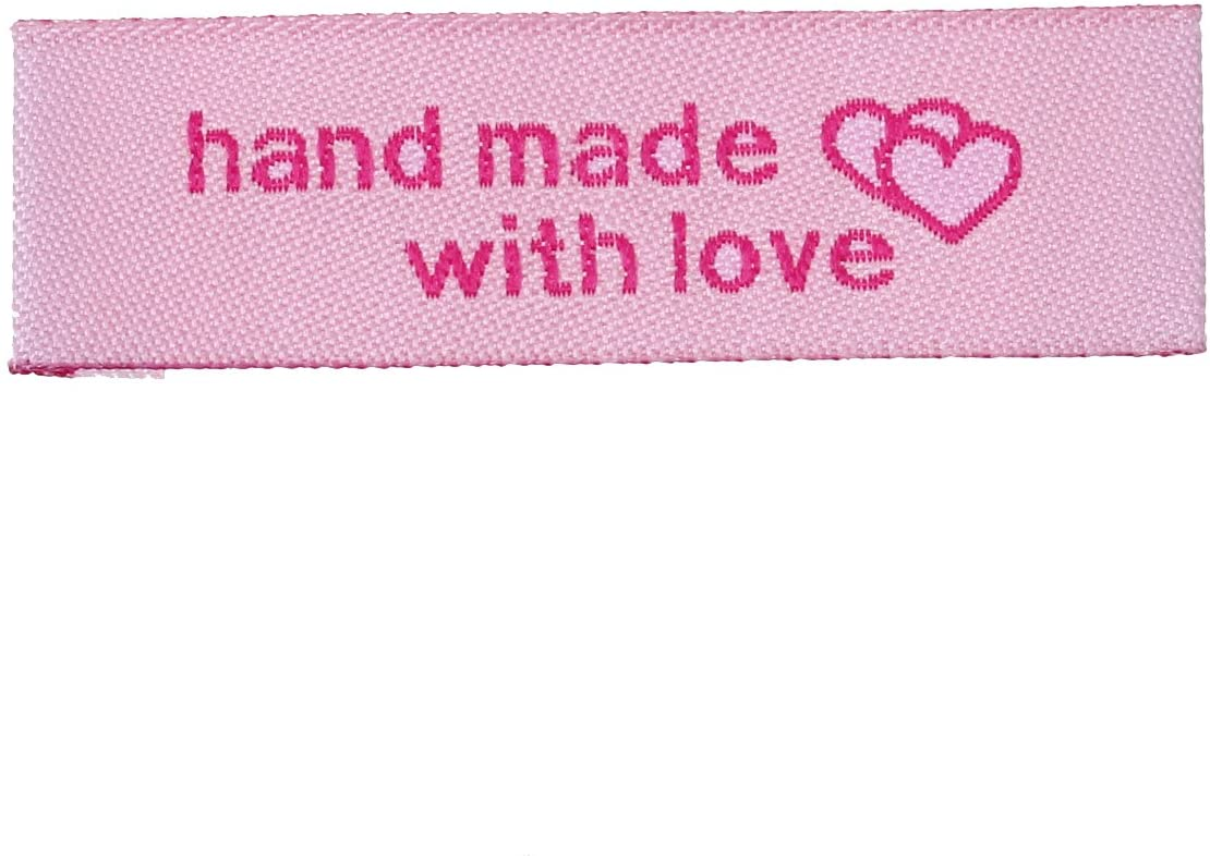 50 Count Handmade Sewing Labels with Interlocking Hearts in Pink 50mm x 15mm