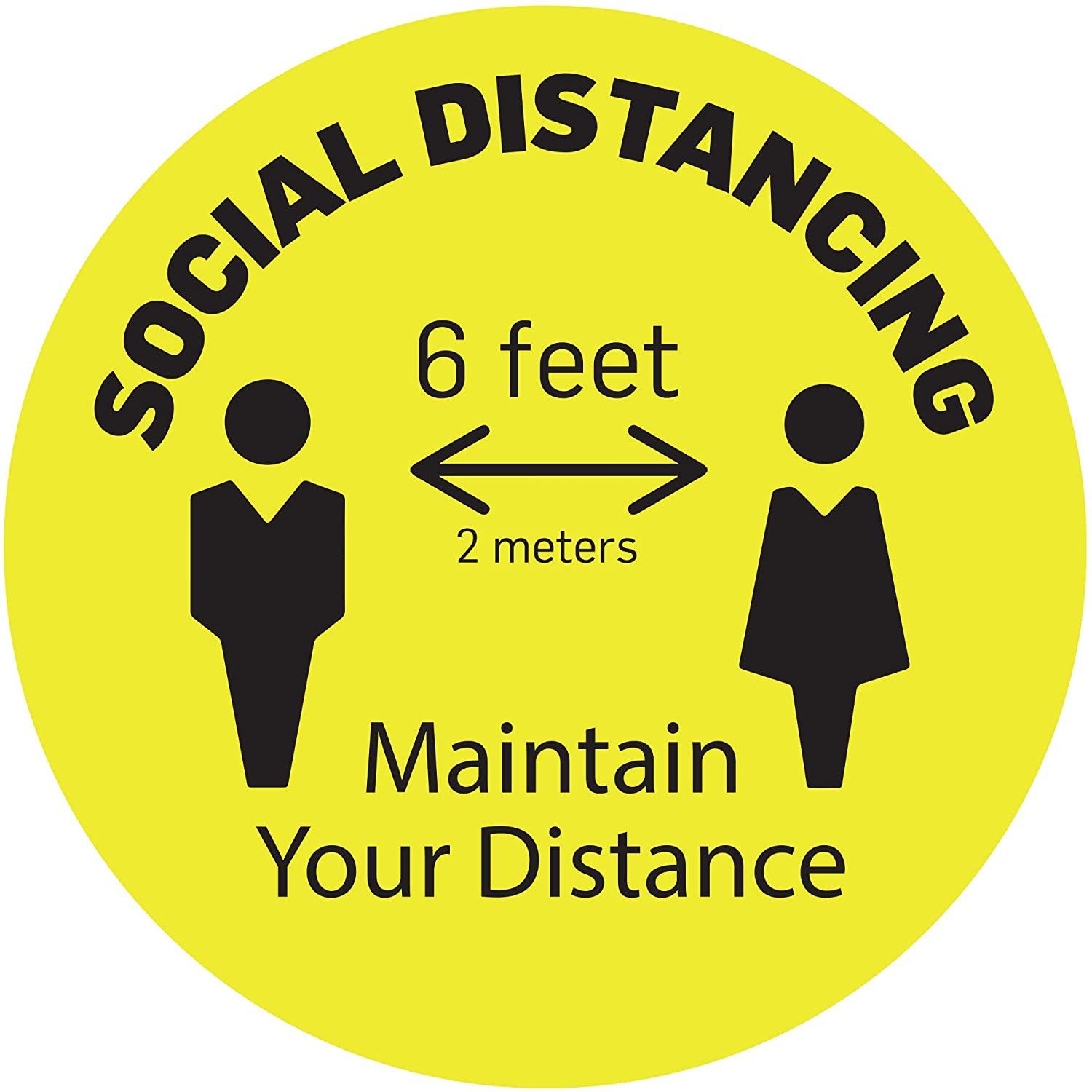 """(Pack of 5) 11"""" Round Yellow - Social Distancing Floor Decals. These 6 ft Apart Removable Stickers Comes with Anti-Slip Lamination. They are Waterproof and Easy to Clean."""