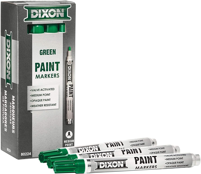 Dixon Paint Markers, Medium Tip, Box of 12 Markers, Green (80224)