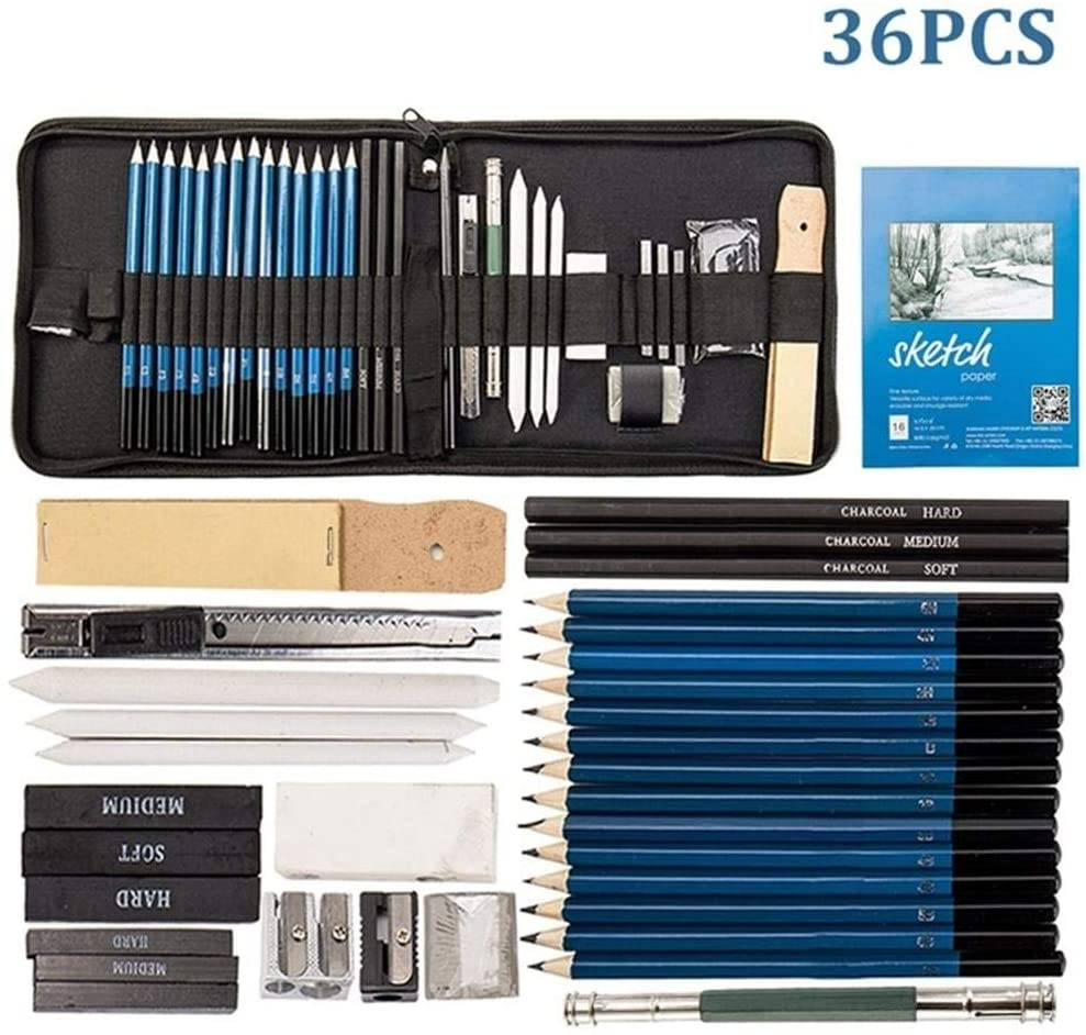 Heitaisi 36Pcs Drawing Sketching Pencils Set Graphite Charcoal Pencils for Drawing with Portable Kit Storage Bag,Painting Drawing Art Supplies