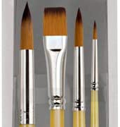 Creative Inspirations Dura-HandleArtist Paint Brushes Short Solid Resin Handle Resists Chips & Cracks - Mixed [Set of 4]