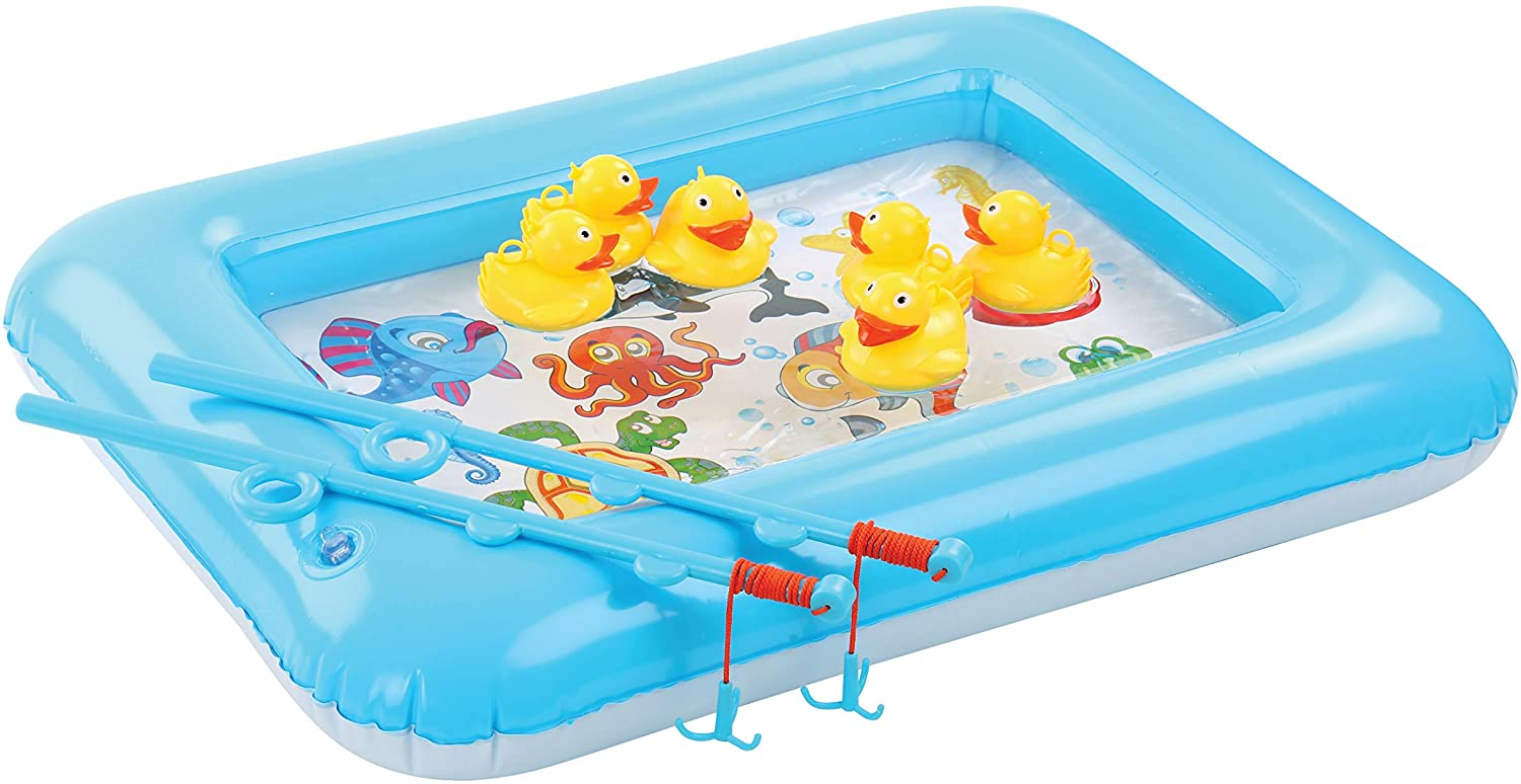 Bundaloo Duck Fishing Game Contest - Fun Carnival Game and Outdoor Party Toy for Kids - Inflatable Square Pond, 2 Rope Fishing Poles With Hooks, 6 Floating Ducks