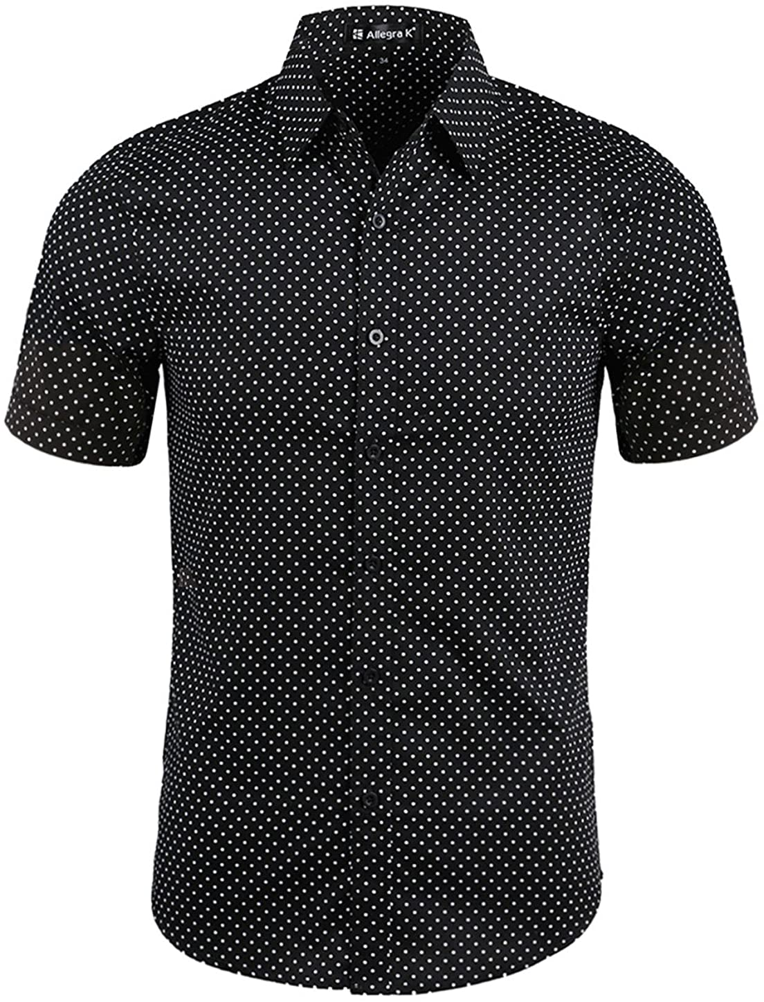 uxcell Men All Over Dots Prints Point Collar Short Sleeves Button Up Shirt