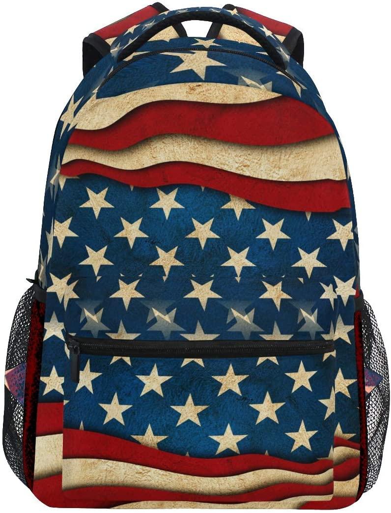 Vintage Star Stripe American Flag Backpack School Bookbag Travel Shoulder Laptop Bag for Womens Mens