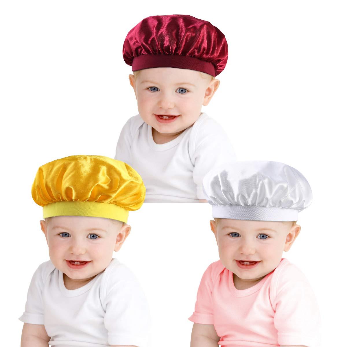 3 Pack Kids Sleep Cap,Children Satin Night Sleep Cap Elastic Wide Band Shower Cap Waterproof Bath Hat for Boys Girls