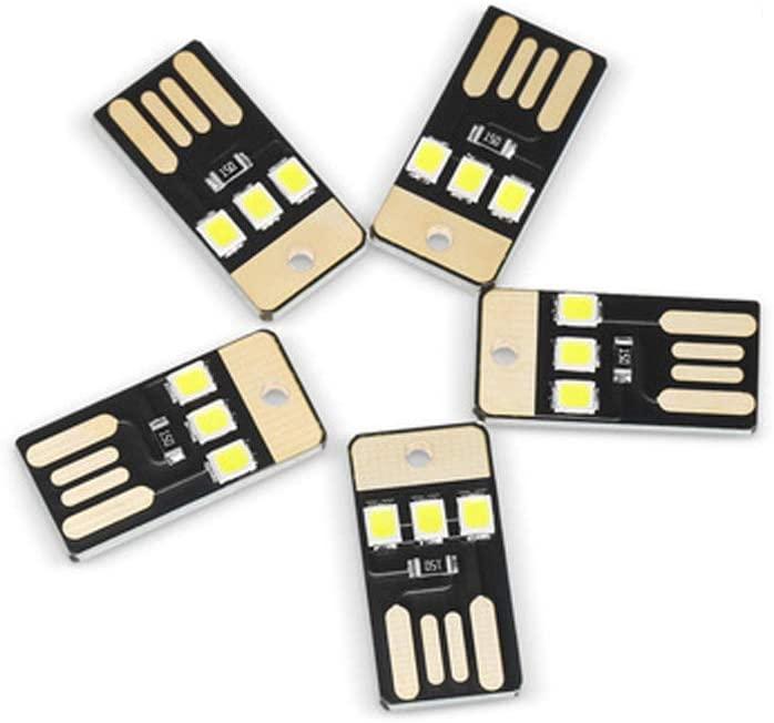 ChooseU 5pcs 0.2W 22 Lumens Mini LED USB Camping Light Lamp Module USB White Light LED Lamp Night Light USB Light (White, Double-Sided Insertion)