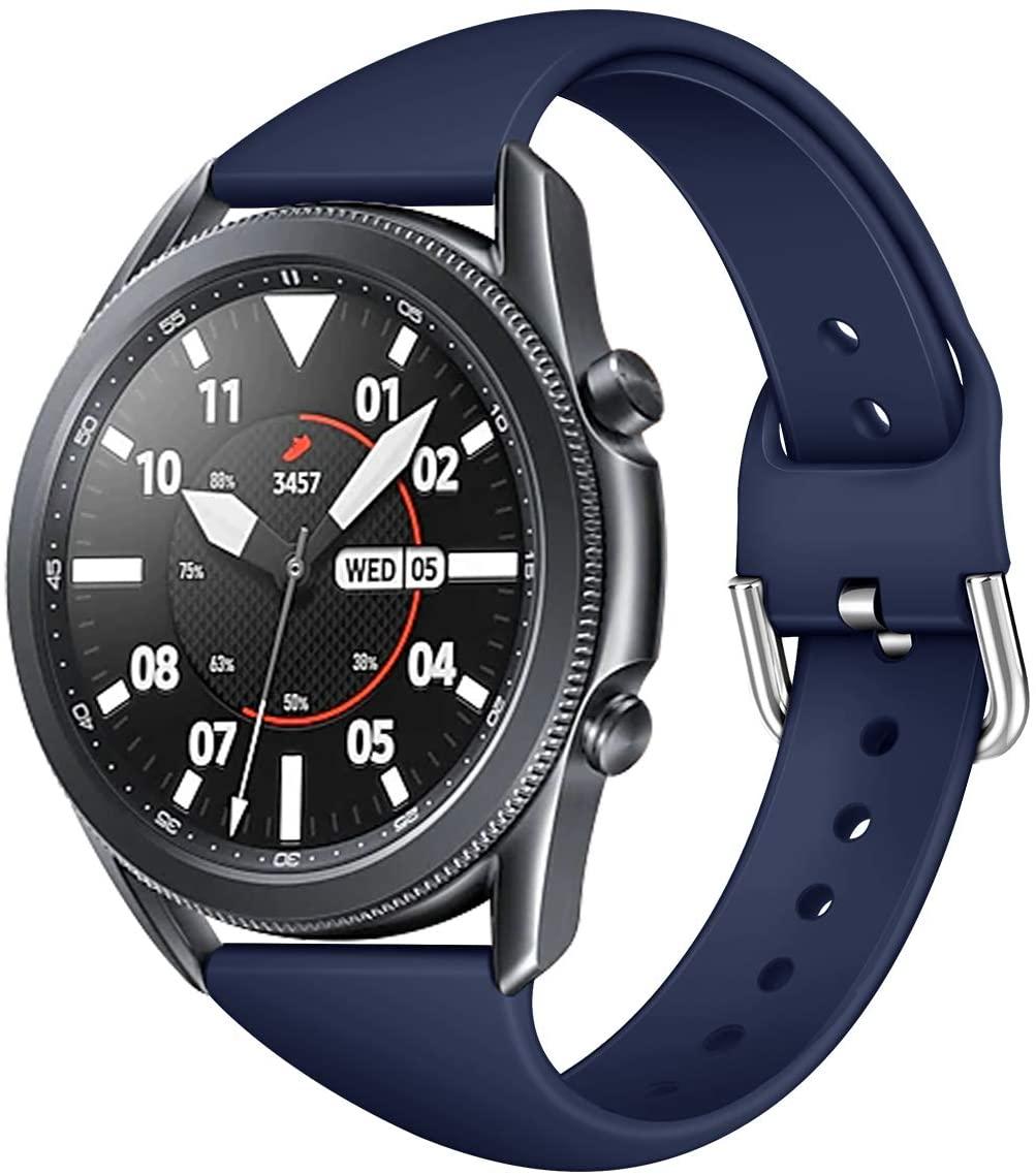 SHYOSUCCE for Samsung Galaxy Watch 3 Generation Watch Silicone Strap Waterproof Movement Fashion Watch Band (Navy, 20mm Small)