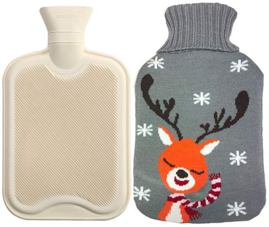 2 Liter Hot Water Bottle, Ease Aches and Pains Aid Comfort Sleep, Thicker Higher Quality Rubber Bottle + Cute Knit Cover- Deer Blue