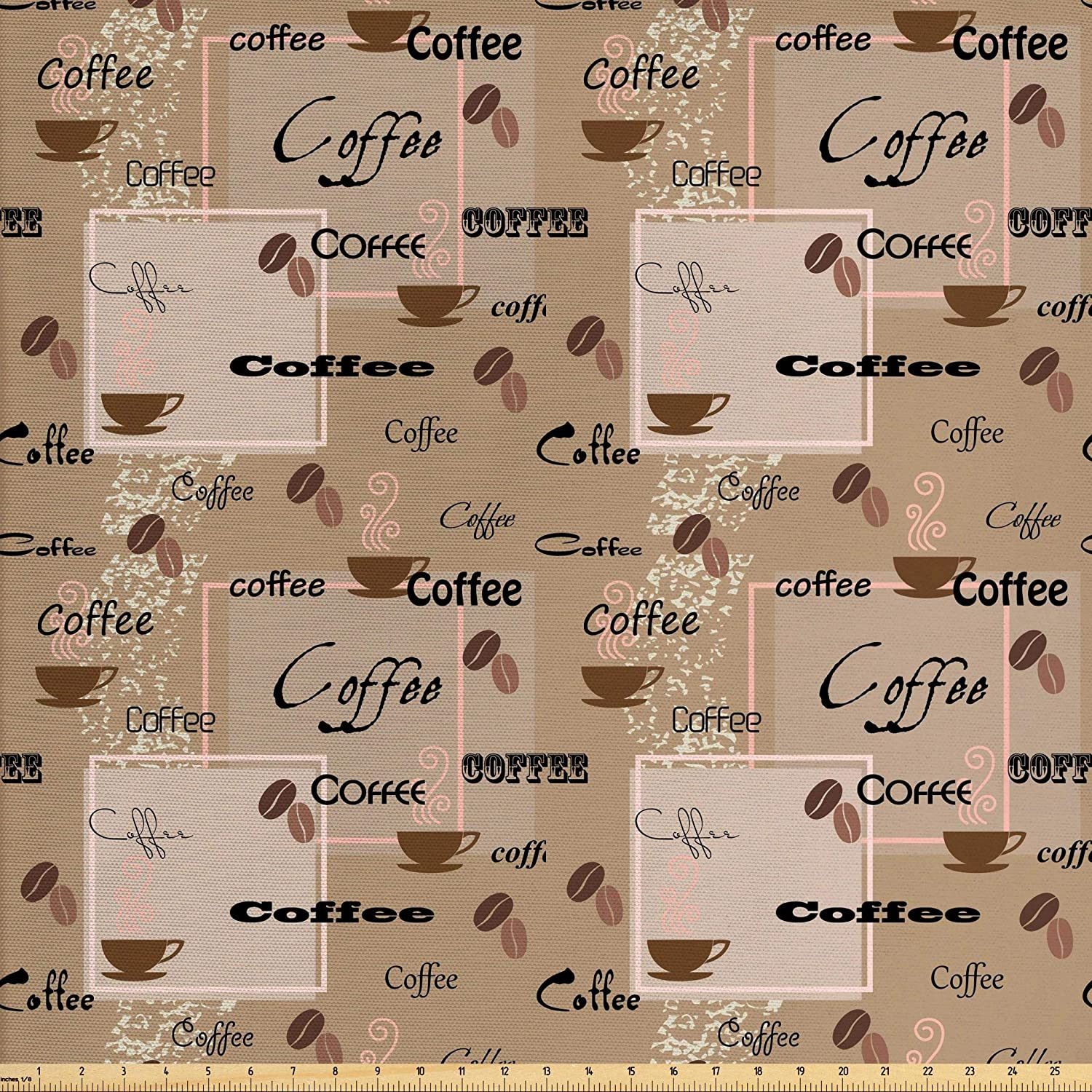 Ambesonne Coffee Fabric by The Yard, Coffee Words Different Typographies Beans Cups on Abstract Vintage Backdrop, Decorative Fabric for Upholstery and Home Accents, 3 Yards, Black Brown