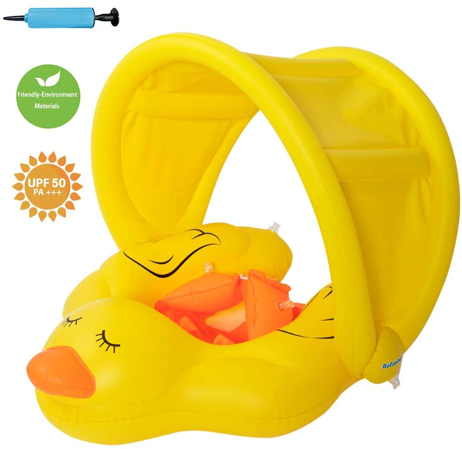relaxing baby Inflatable Baby Swimming Float with Canopy Baby Floats for Pool with Safe Bottom Support Pool Float for Age of 6-36 Months(Yellow , L)