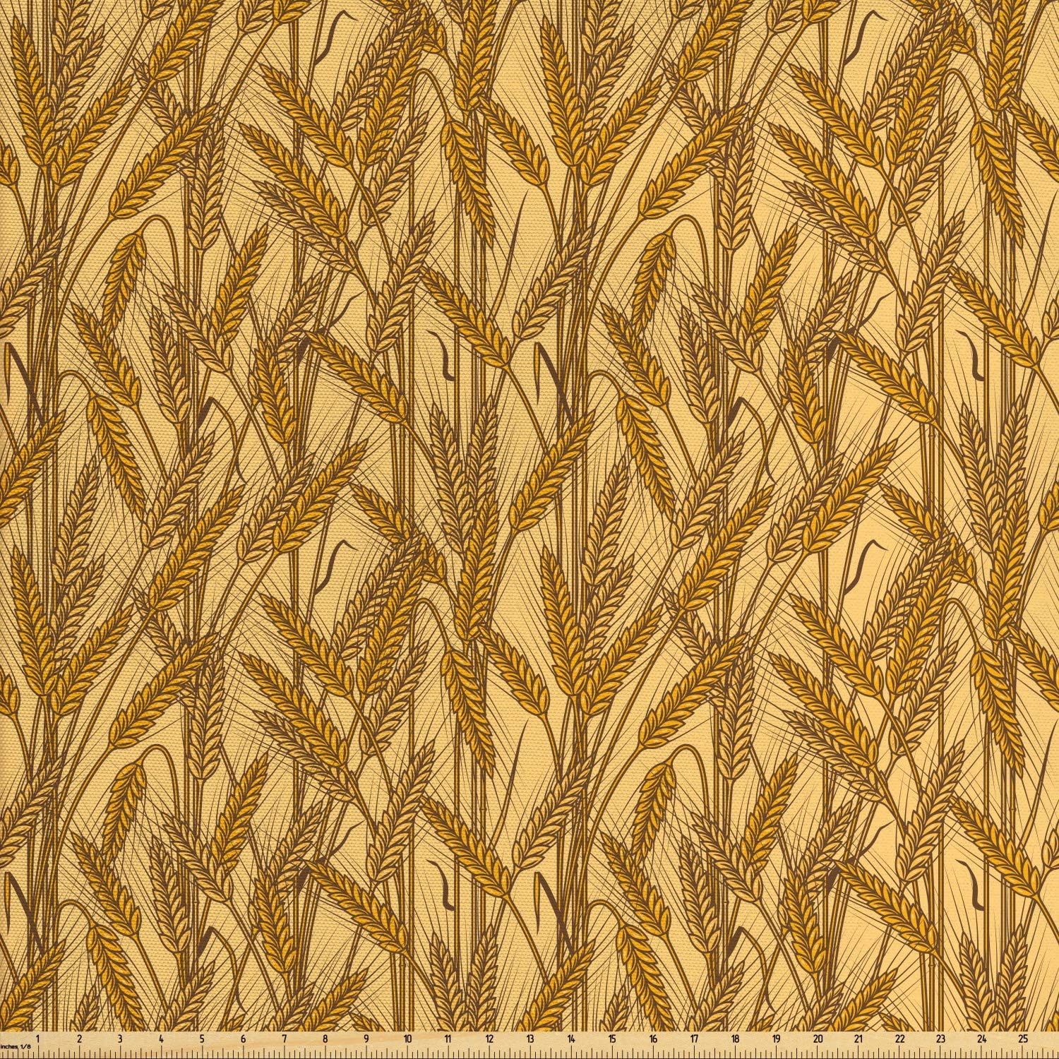 Ambesonne Harvest Fabric by The Yard, Cereal Ears Rural Wheat Rye Field Pattern Agriculture Farmland Country Life, Decorative Fabric for Upholstery and Home Accents, 2 Yards, Mustard Yellow