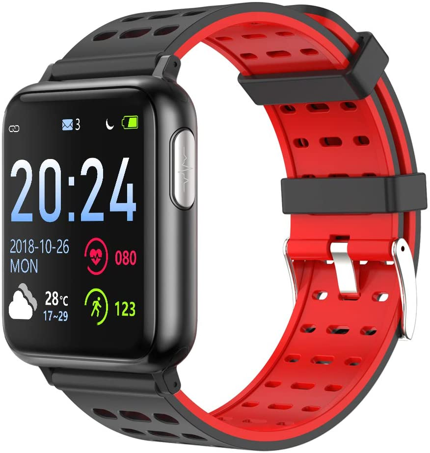 Eleyasi SMS Call Reminder Distance Sport Mode Smart Watch for Android iOS Phone,Fitness Tracker Watch Step Counter, Sleep Monitor, Pedometer Watch, Smartwatch for Women Men (Black Watch+Black red)
