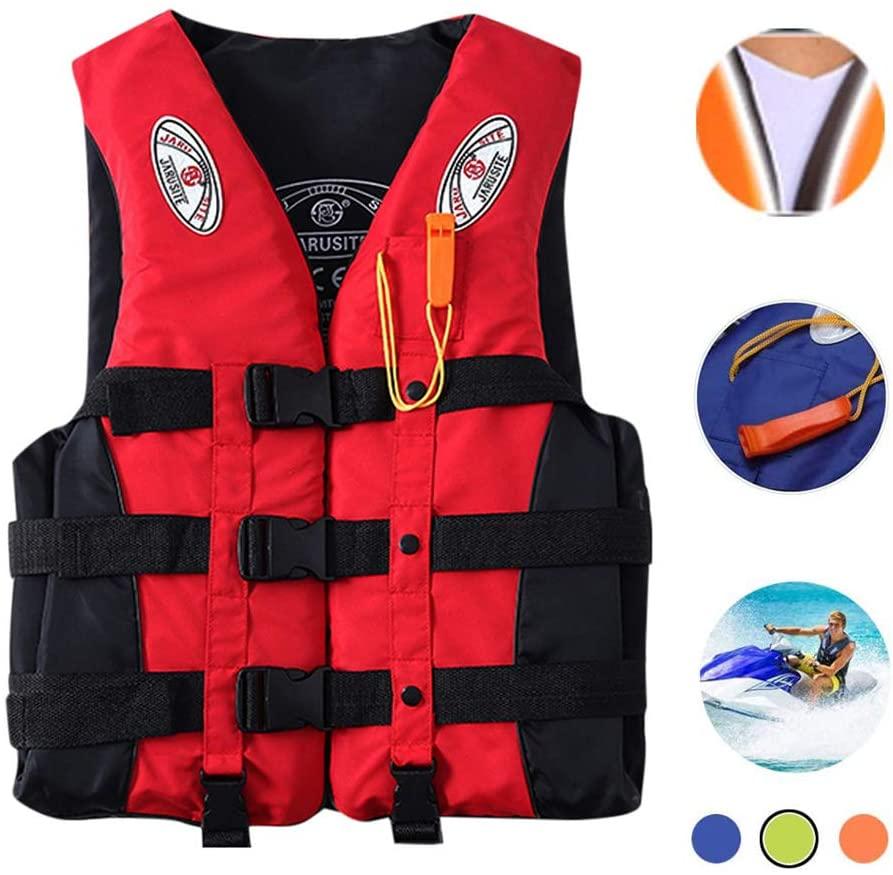 Bosji Life Vest for Adult, Adjustable Camouflage Kayak PFD Life Jackets, Plus Size Jet Ski Stearns Swimming Equipment Life Jacket for Buoyancy Fishing Boating Watersport Men Women