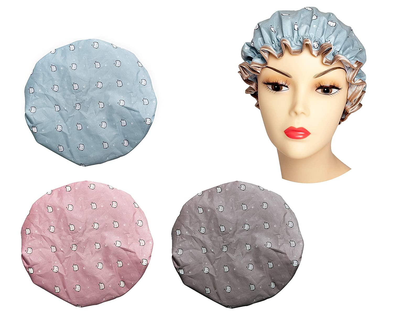 Shower Cap, 3 Pack Cute Shower Caps for Women, Waterproof and Reusable, Double Layers Bathing Shower Hat Hair Shower Caps (3PCS Cute Cat)