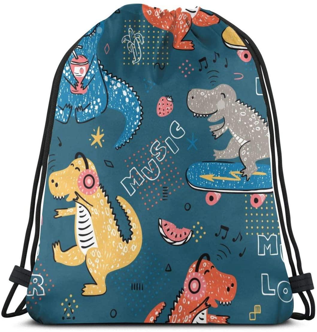 Music Lover Dinosaur Cartoon Unisex Drawstring Backpack Bag Sport Gym Travel Sackpack