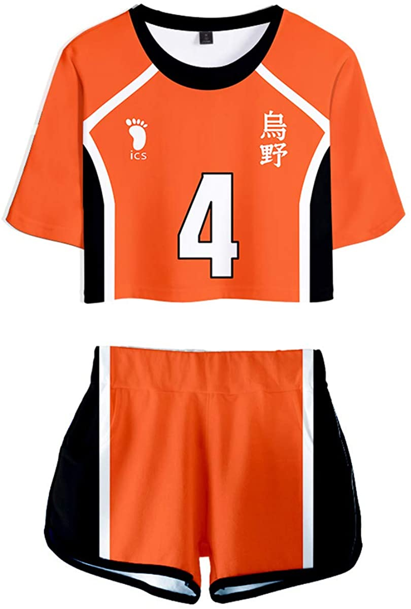 Haikyuu Cosplay Costume Hinata Shoyo Anime T-Shirt Shorts Set High School Uniform for Women Adult Halloween