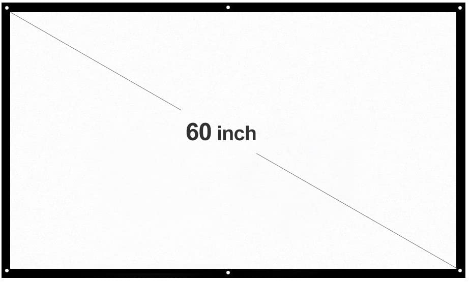Docooler H60 60'' Portable Diagonal Video Projector Screen HD 16:9 White Dacron Wall Mounted for Home Theater Office Movies Training Indoors Outdoors