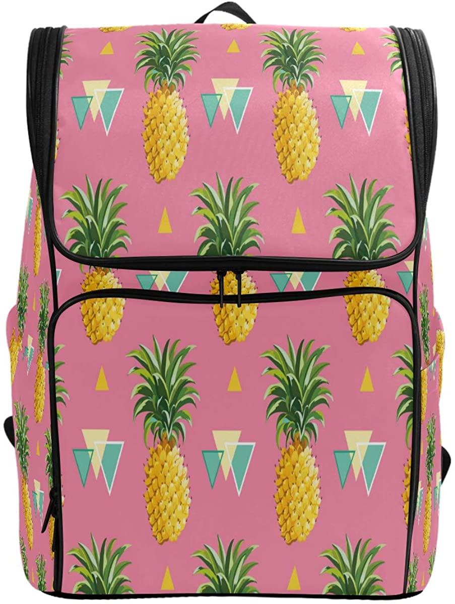 Kaariok Summer Fruit Pink Geometric Pineapple Tripocal Colorful Backpack Bookbags College Laptop Daypack Travel School Hiking Bag for Womens Mens