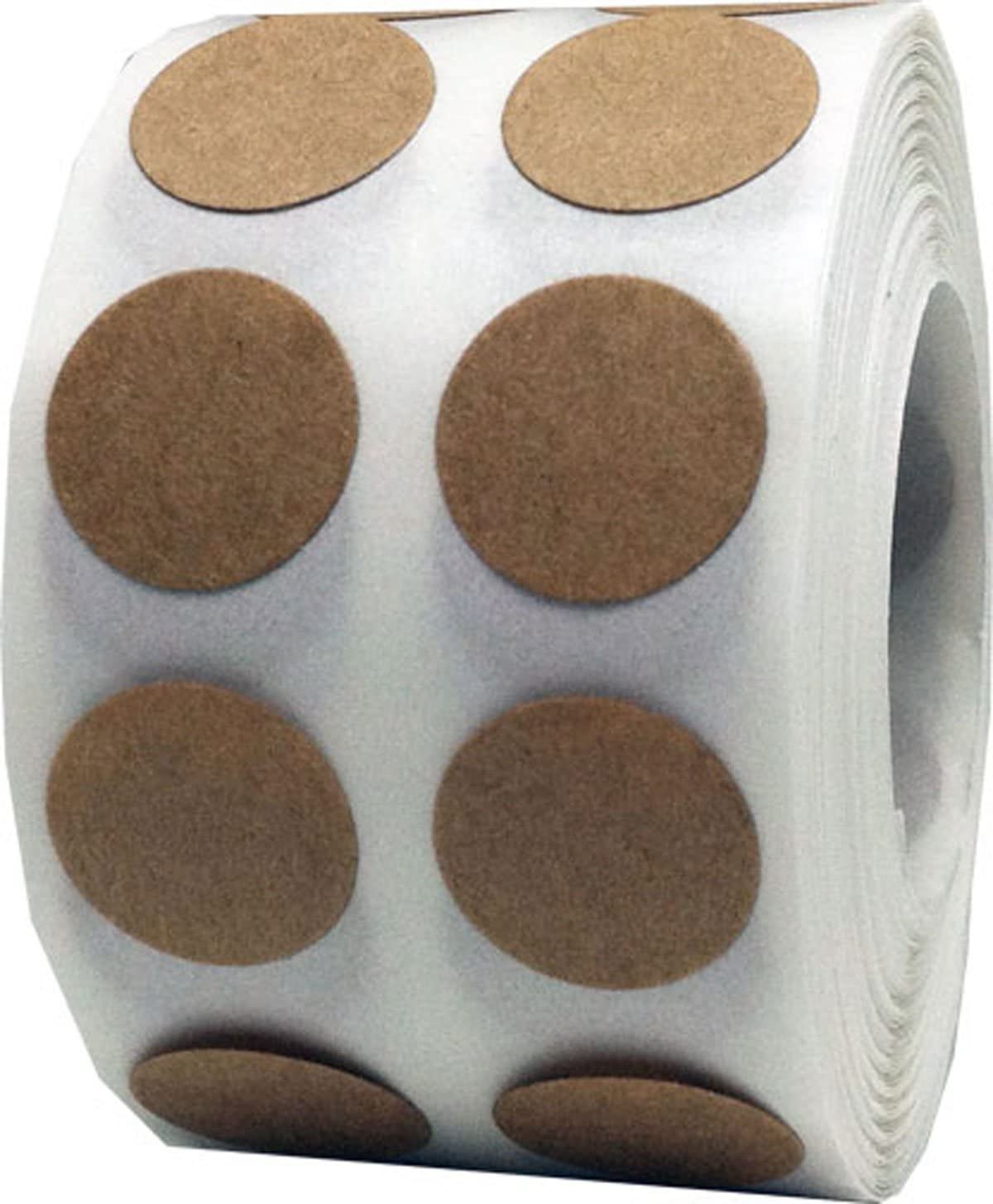 Brown Natural Kraft Color Coding Labels for Organizing Inventory 0.50 Inch Round Circle Dots 1,000 Total Adhesive Stickers On A Roll