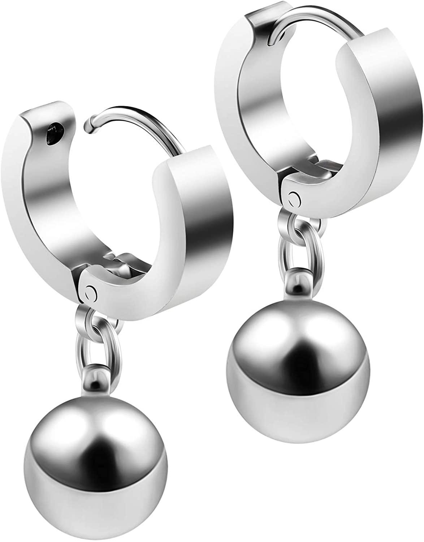 BIG GAUGES Pair of 316L Surgical Steel 16g Gauge 1.2mm Huggies Dangling Ear Plugs Piercing Polished 8mm Balls Hoop Cartilage Earring