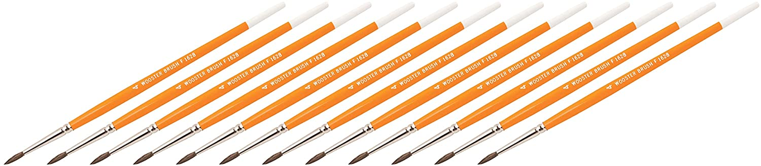 Wooster Brush Camel Hair Watercolor Pointed Artist Brushes Size #4 - Pack of 12