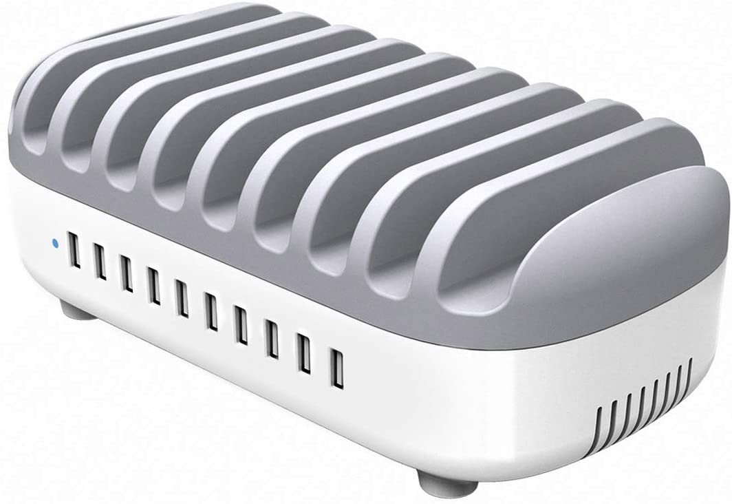 ORICO 10 Ports USB Charging Station Dock with Smart Fan Fast Charging Station for Multiple Devices Quick Charger Station for Smart Phone, iPad, Tablet, Kindle (ETL Certified)