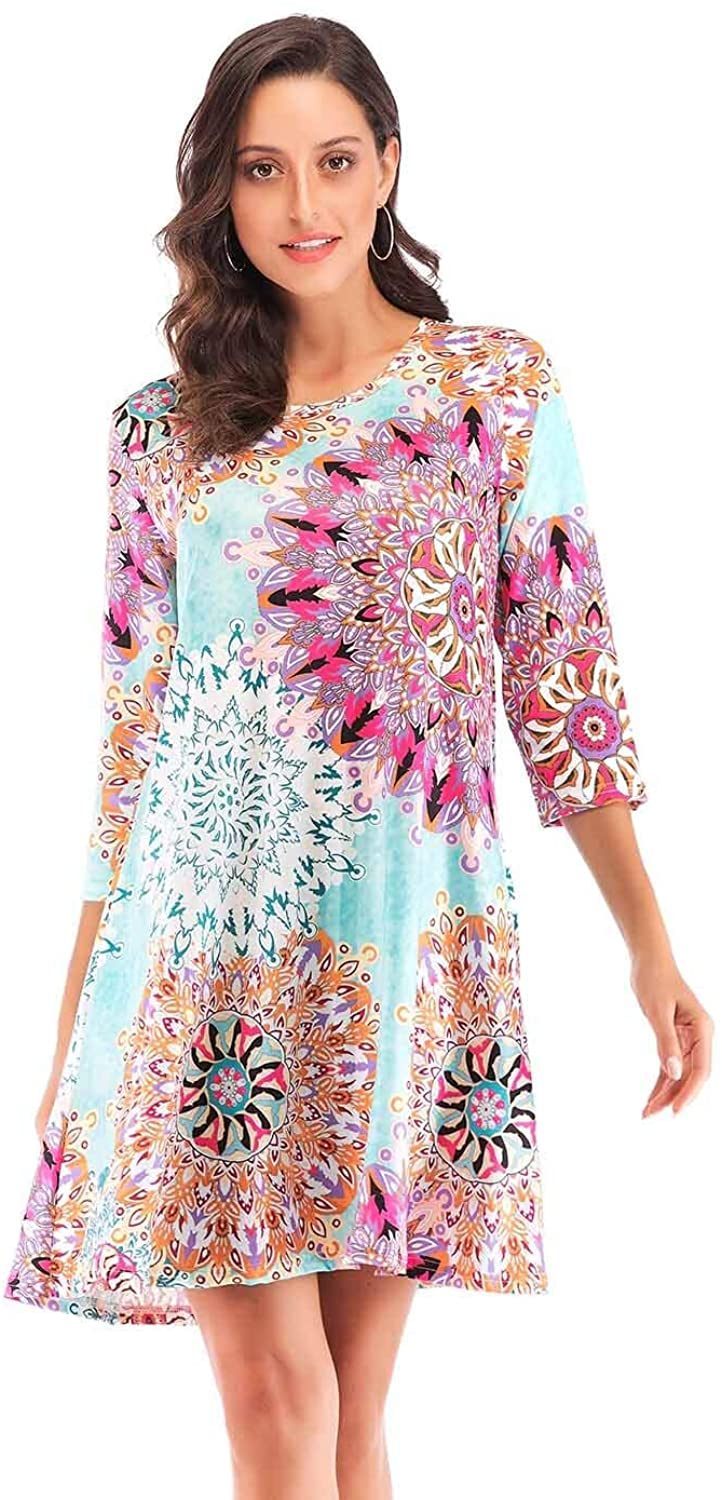 Edutitta Women's Casual Floral Print Round Neck Loose Fit 3/4 Sleeve Tunic Tops Swing Dress with Pockets