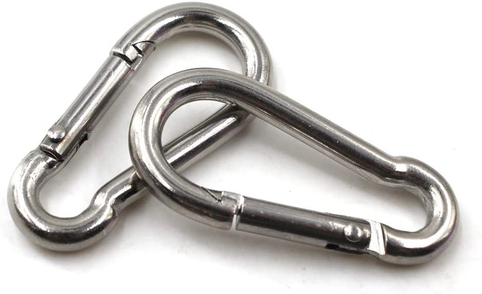 Flomore Spring Snap Hook 304 Stainless Steel Climbing Carabiner Clip Heavy Duty Link Hook Keychain