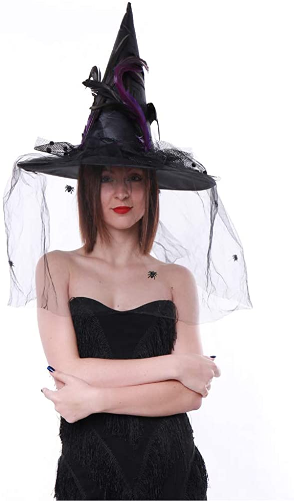 Crazy Night Women's Witch Hat Halloween Costume Witch Hat with Veil (Black)