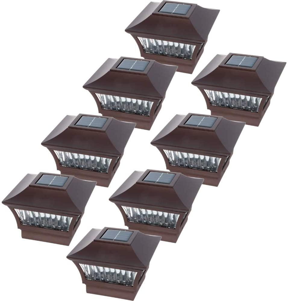 GreenLighting 8 Pack Aluminum Solar Post Cap Light 4x4 Wood & 6x6 PVC (Bronze)